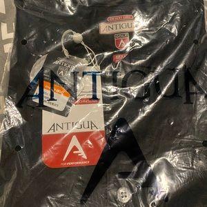Men's new Antigua black golf shirt.